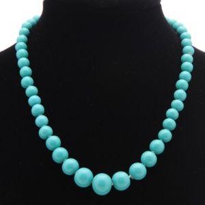 Aqua Milk Glass Bead Choker Necklace - Vintage